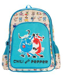 Safari Bags Chili And Pepper Print Backpack Blue - 16 inches
