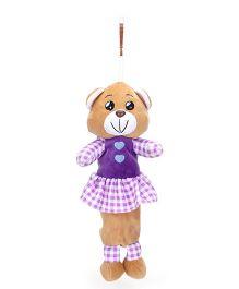 Clip On Pencil Pouch Bear Design - Brown Purple