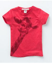 MilkTeeth Peeping Giraffe Print Tee - Red