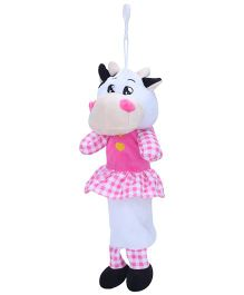 Clip On Pencil Pouch Cow Design - White Pink
