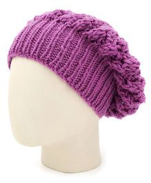 Magic Needles Handknitted Girls Slouch Shroom Cap - Purple