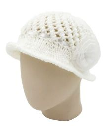 Magic Needles Handknitted Girls Summer Hat With Satin Ribbon & Flower - White