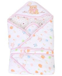 Mee Mee Hooded Swaddle Wrapper Bear Embroidery - Pink & White