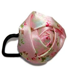 Treasure Trove Jumbo Satin Rose Rubber Band - Pink