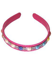 Treasure Trove Stone Studded Hair Band - Dark Pink