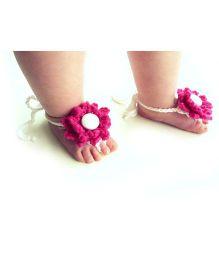 Treasure Trove Handmade Floral Barefoot Sandal - Magenta