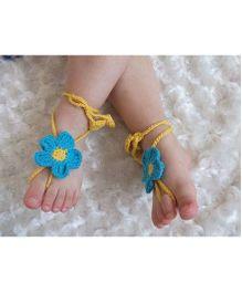 Treasure Trove Handmade Floral Barefoot Sandal - Blue