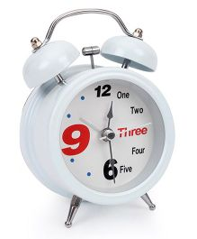 One To Three Print Alarm Clock - White