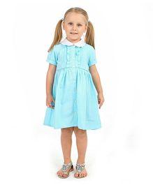 Cherry Crumble California Pretty Collar Shirt Dress - Soft Blue