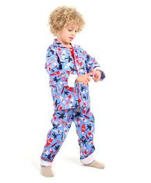 Cherry Crumble California Comfy Night Suit - Ocean Blue