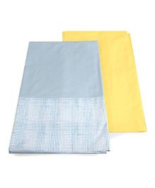 HouseThis Set Of 2 Bed Sheet - Yellow & Blue