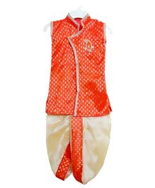 Swini's Baby Wardrobe Kurtha & Dhoti - Orange & Cream