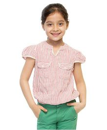 Oxolloxo Cap Sleeves Stripes Top With Front Pockets - Red And Off White