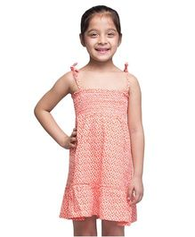 Oxolloxo Singlet Printed A Line Dress - Peach