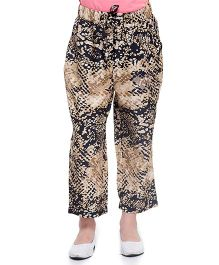 Oxolloxo Ankle Length Pants Snake Print - Black And Beige