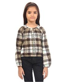 Oxolloxo Full Sleeves Check Top With Embroidery - Brown Multicolor