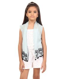 Oxolloxo Sleeveless Shrug With Floral Embroidery And Pom Pom Details - Light Blue
