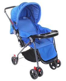 Baby Pram Cum Stroller Circle Print - Blue