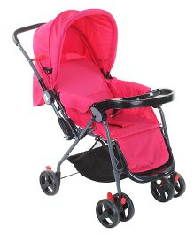 Baby Pram Cum Stroller Circle Print - Fuchsia
