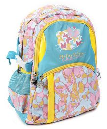 DHello Kitty School Bag Butterfly Print Sea Green & Yellow - 15 Inches