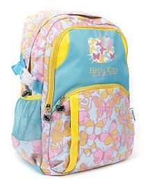 Hello Kitty School Bag Butterfly Print Sea Green & Yellow - 17 Inches