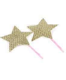 D'chica Shimmer Star Set of 2 Hair Pins - Golden