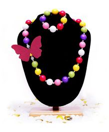 D'chica Beads & Butterflies Necklace & Bracelet Set - Multicolor
