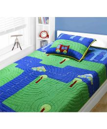 A Little Fable Traffic Twin Quilt - Blue And Green