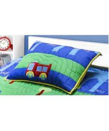 A Little Fable Traffic Theme Pillow Cover - Blue And Green