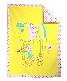 A Little Fable Cycling Girl Design Fleece Blanket - Yellow