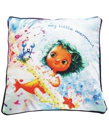 A Little Fable Little Mermaid Digital Print Cushion Cover - Multicolor