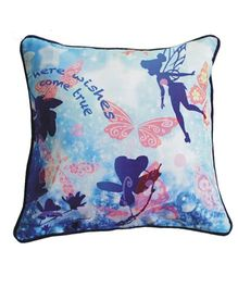A Little Fable Here Wishes Come True Print Cushion Cover  - Blue