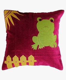 A Little Fable Frog Cushion Over - Burgundy