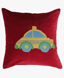 A Little Fable Car Applique Cushion Cover - Red