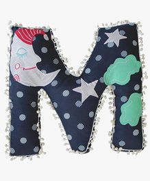 A Little Fable M Alphabet Shaped Cushion - Navy Blue