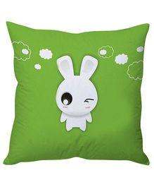 Stybuzz White Bunny Cushion Cover - Green