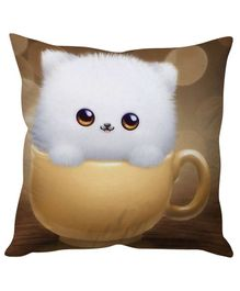 Stybuzz Kitty in Cup Cushion Cover - Brown