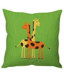 Stybuzz Cute Giraffes Cushion Cover  - Green