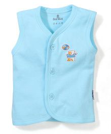 Child World Sleeveless Vest Teddy Print - Aqua Blue