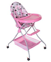 High Chair With Storage Basket - Pink