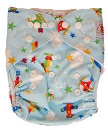 ChuddyBuddy Cloth Diaper With Insert Aeroplanes Print - Multicolour