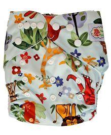ChuddyBuddy Cloth Diaper With Insert African Safari Print - Green