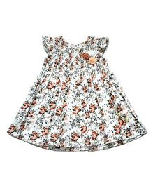 Young Birds Smoked Floral Dress - White