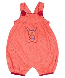 Young Birds Embroidered Dungaree - Peach