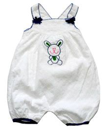 Young Birds Embroidered Dungaree - White