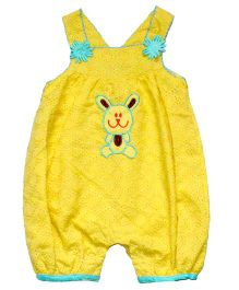 Young Birds Embroidered Dungaree - Yellow