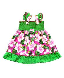 Young Birds Shirred Frill Dress - Green