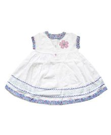 Young Birds Embroidered Dress - Milk White