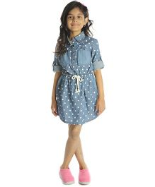 My Lil' Berry Full Sleeves Frock Polka Dot Print - Blue