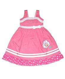 Young Birds Pintuck With Embroidery Flower Dress - Pink